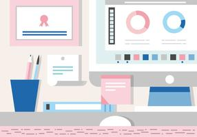Free Working  Desk Vector Illustration