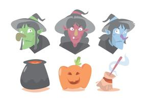 Bruja y Halloween conjunto de vectores