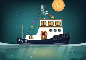 Tugboat-seascape-vector