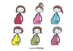 Mujeres embarazadas vector