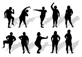 Set Of Plus Size Vrouw Silhouetten Vector