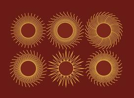 Set Of Stylized Sun Icons Line Style Vector