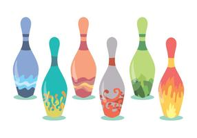 Decorative Bowling Pins Vector Set