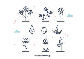 Flores geométricas y vector de la hoja