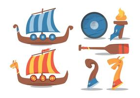 Viking Ship Vector Set