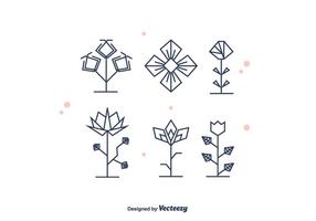 Geometrical Flowers Vector