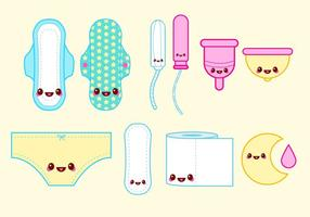 Happy Tampon Period Vector Set