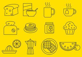 Breakfast Line Icons vector