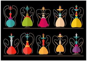 Hookah Nargile Shissha vector flat illustration set