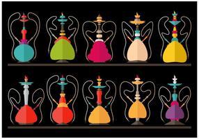Hookah Nargile Shissha vektor platt illustration uppsättning