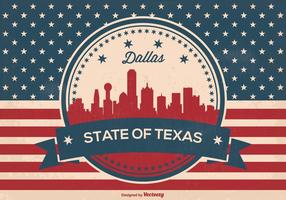 Retro Dallas Texas Skyline Illustration