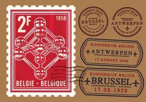 Atomium brussel stamp vector