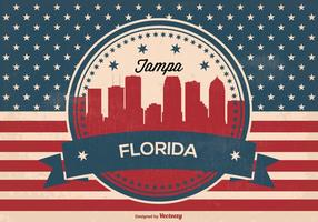 Retro tampa florida skyline illustration