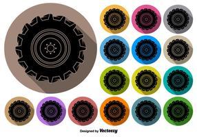 Botões do vetor do ícone preto do pneu do trator