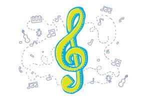Violinenschlüssel mit Skizzen Hintergrund