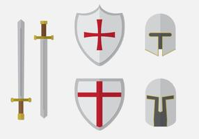 Templar Knight Elements Set vector