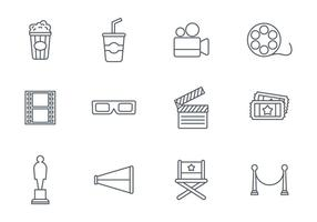 Free Movie Line Icon Set Vector