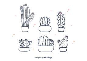Mano libre dibujado vector de cactus