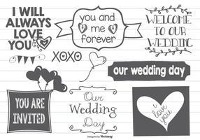 Doodles do amor do vetor