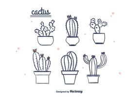 Mano dibujado vector de cactus