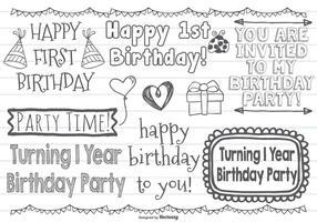 Söt första födelsedagsvektor Doodles