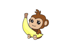 Chibi monkey cartoon vector