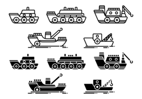 Tugboat Vektor Icons