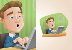 Mann arbeitet an einem Laptop Illustration