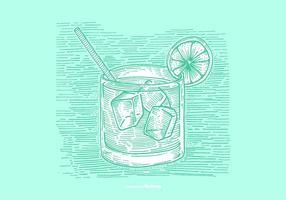 VODKA TONIC LINE TEKNING VECTOR