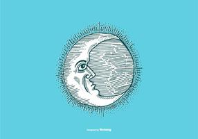MOON - LINE DRAWING vector