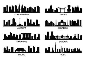 Asia Famous Landmark Vector