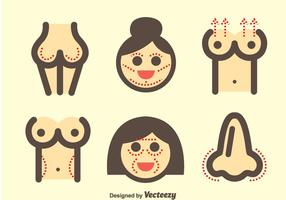 Woman Plastic Surgery Icons vector