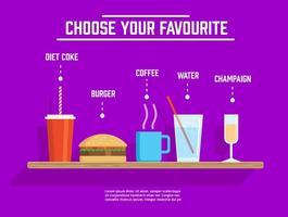 Different Vector Drinks And Food