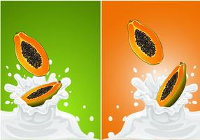 Vector Papaya Fruit Met Melk