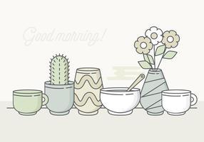 Elementos da manhã Pastel do vetor