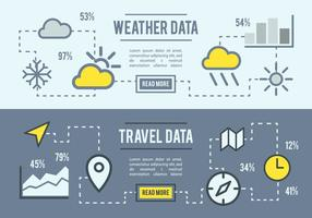 Tiempo libre y datos de viajes Vector de fondo