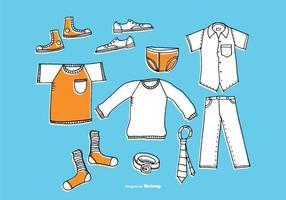 Vetores de roupas masculinas desenhadas a mão
