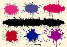 Conjunto de salpicos de pintura vetorial
