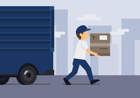 Delivery Man and Truck vector