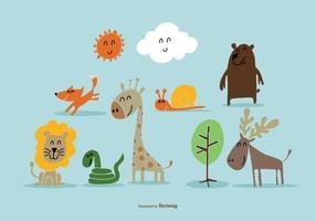 Vectores de animales salvajes dibujados a mano