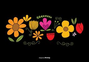 Hand Drawn Flower Element Vectors