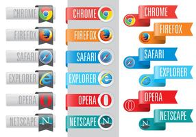 Web Browser Logos In Ribbons