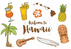 Hawaii ikon vektor uppsättning