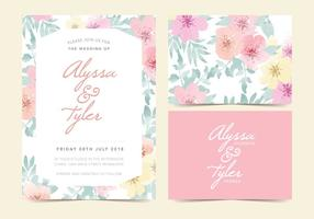 La boda floral del vector invita