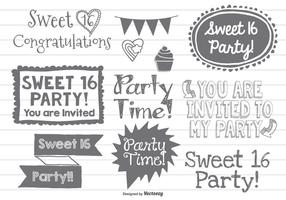 Sweet Sixteen Doodles vector