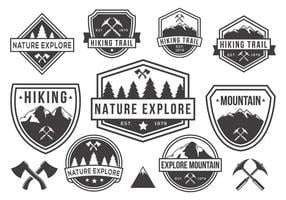 Gratis Berg en Natuur Badges Vector Zwart-wit