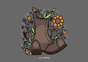 Flower Filled Boot Vector