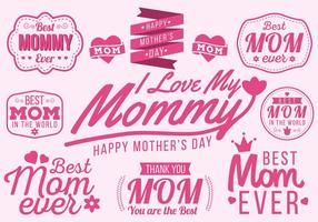 Libere el vector feliz de la tipografía del día de madre