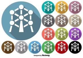 Set Of Rounded Buttons Of Atomium Monument Icon vector