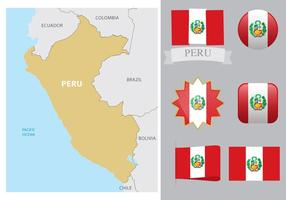 Peru Map And Flags vector